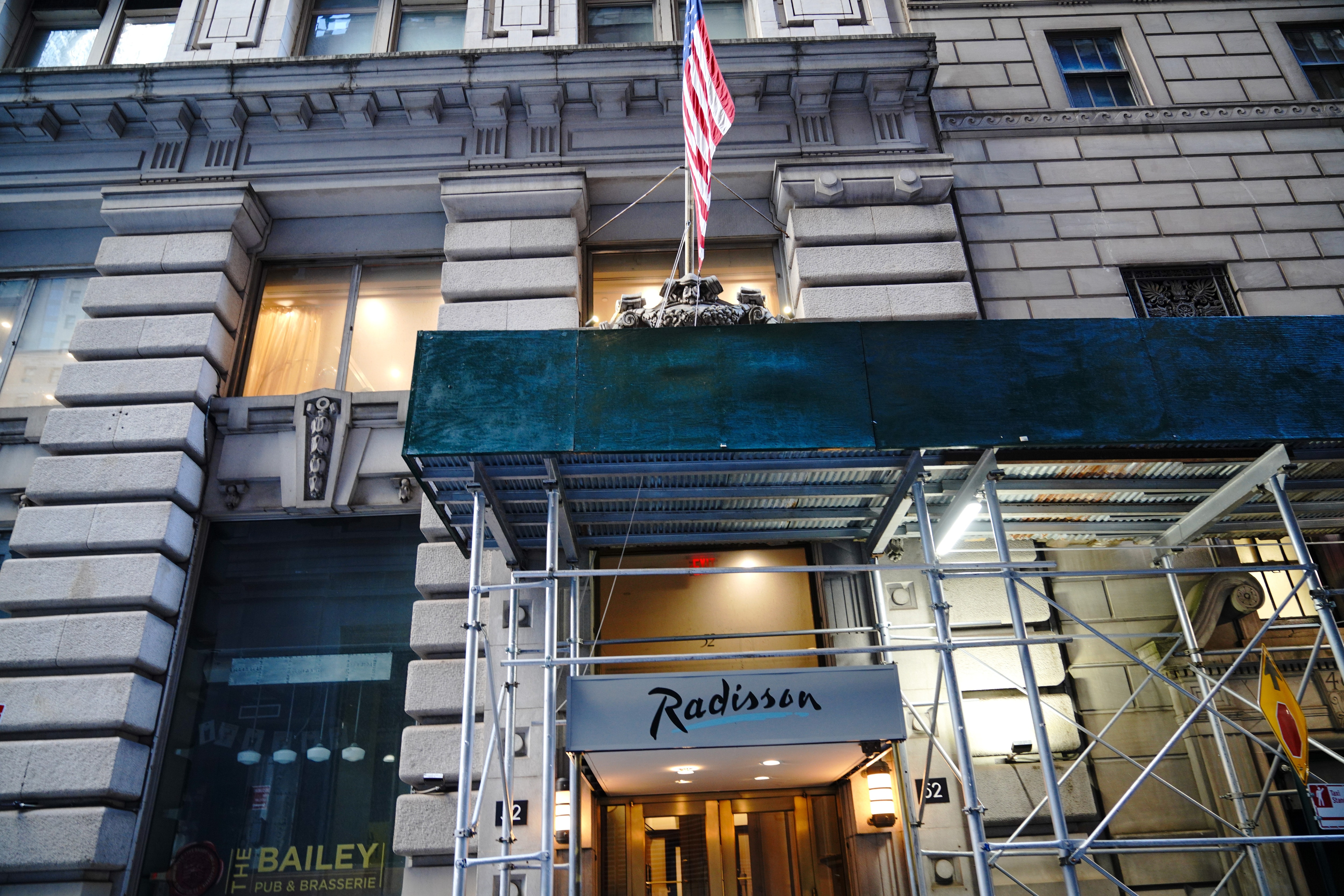 A New York City hotel on Wall Street converted to a homeless shelter.