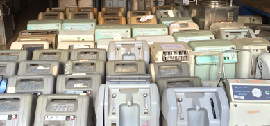 numerous rows of medical equipment in a storeroom