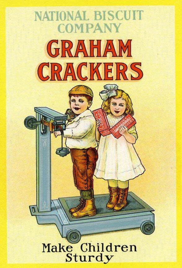 An ad for graham crackers featuring two kids.